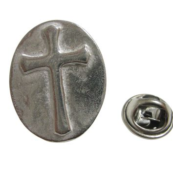 Silver Toned Oval Religious Cross Lapel Pin