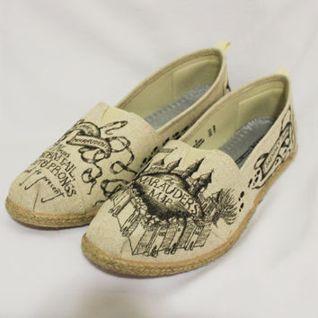Natural Color Marauder's Map Harry Potter Rope Sole Memory Foam Off-Brand Toms Style Shoes