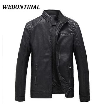 WEBONTINAL Jacket Men Brand Clothing Thick Velvet PU Faux Leather Winter Casual Windbreaker Motorcycle Male Jackets Coat Outerwe