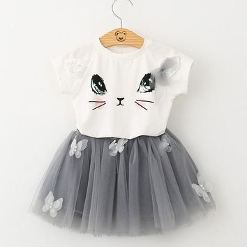 2018 New Summer Infant Kids Hello Kitty Cute Cat T Shirt Tutu Lace Skirt Girls Clothing Sets Children Clothes Vestidos Costumes