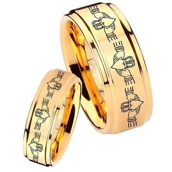 His Her Glossy Step Edges Irish Claddagh 14K Gold IP Tungsten Wedding Rings Set