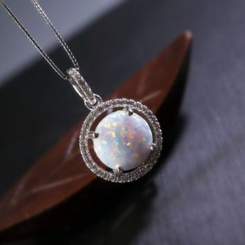 Large White Opal Necklace - Full Sterling Silver Opal Jewelry - Synthetic White Fire Opal Pendant - Delicate Solitaire Opal CZ Necklace