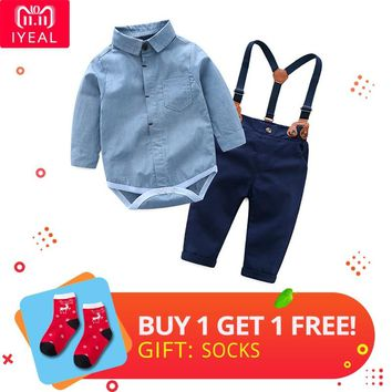 IYEAL Fashion Wedding Birthday Party Baby Boys Clothes Sets Cotton Romper Shirt +Bib Pant Toddler Infant Kids Outfits Costume