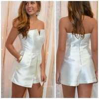 Midnight Kiss Ivory Satin Cocktail Party Romper