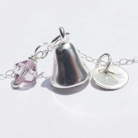 Sterling silver bell necklace - Personalized bell Pendant - birthday, wedding, graduation, bridesmaid, mother, friends