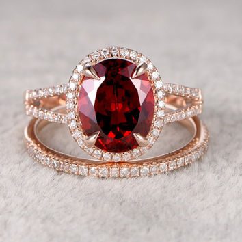 2pcs 8x10mm Natural Garnet Bridal Ring Set Engagement 14k Rose Gold Diamond