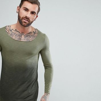 ASOS Longline Long Sleeve T-Shirt With Raw Scoop Neck And Dip Dye In Khaki at asos.com