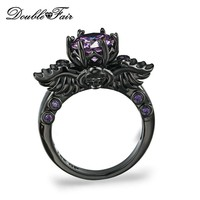 Double Fair Brand Purple Crystal Skull Rings Black Gold Color Fashion Cubic Zirconia Jewelry Punk Skeleton For Women DFR623