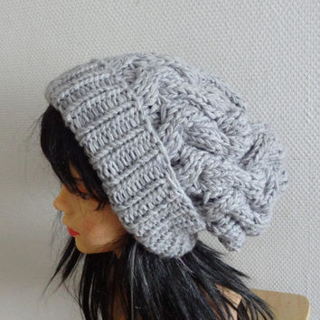 Handmade Knit Cable Hat Beanie Slouchy Hat Beanie Large for Men / Women  Baggy cabled Slouchy hat Warm hat GRAY