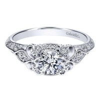 14K White Gold .76cttw Ornate Vintage Style Round Diamond Engagement Ring with Bead Set Diamonds