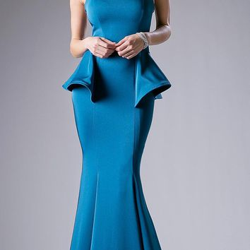 Peplum Teal Strapless Mermaid Floor Length Prom Gown