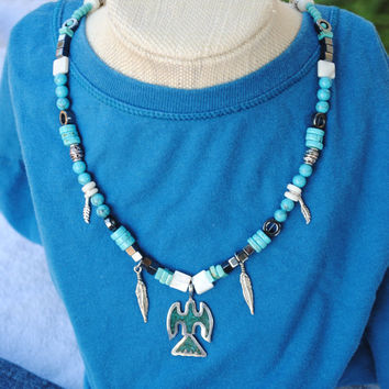 Thunderbird necklace; native bird necklace; feather necklace; southwest inspired necklace; turquoise bead necklace; silver bird pendant