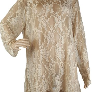Plus Size Nude Floral Lace See through Top By Carrie Allen (i-8)