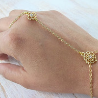 Gold Dainty Hand Chain Bracelet - Slave Bracelet - Body Jewelry - Wedding Bride Bridesmaids