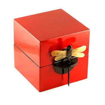 Lacquered Red square jewelry box, dragonfly lock