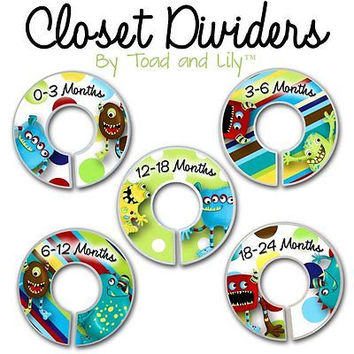 Closet Dividers In the Mr. Monster and Friends Bedroom Baby Nursery Art Decor CD0044