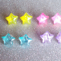 Jelly Glitter Star Stud Earrings - Your Choice of Colors