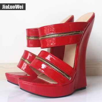 Women Sexy High Wedges Heels Shoes Platform Patent Leather Ankle Strap Sandals Fashion Summer Pumps Ladies Shoes Pluse szie