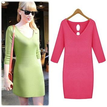 LMFUG3 Long Sleeve Knit Slim Scales One Piece Dress [4918634500]