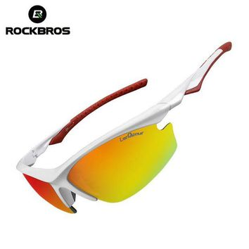 DCCK7N3 ROCKBROS Bicycle Sunglasses Riding Bike Sun Glasses One Polarized Lens& 4  Lenses Cycling Glasses Eyewears Goggles 9 Colors