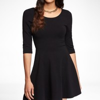 THREE-QUARTER SLEEVE STRETCH COTTON SKATER DRESS