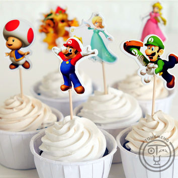 24pcs Super Mario Bros Luigui Mario Browser Toad Peach Daisy cupcake toppers picks party decoration for Kids birthday supplies
