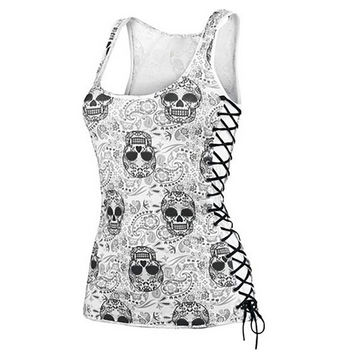 New 2017 Skull Head Design Tops Harajuku Sleeveless White T Shirts Fitness Women Vest Casual Camisole Tank Top