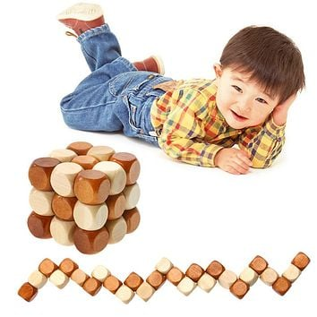Dragon Tail Style Wooden Cube Adult Children Intelligence Puzzle Lock Toys Brain Teaser Puzzles Baby Kids Educational Toy Gift