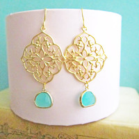 Turquoise Gold Earrings Bridal Jewelry For Bride Dangling Earrings Aqua Wedding Something Blue Mint Glass Drop Dangle Earring Bridesmaids C1