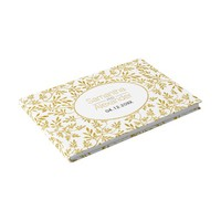 Modern gold glitter leaves wedding guest book