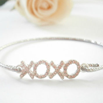 Silver Xoxo Bracelet - Xo Bangle Bracelets - Hugs and kisses -  Rhinestone Jewellery - Sideways Jewelry - Pave Bracelet - Valentines Day