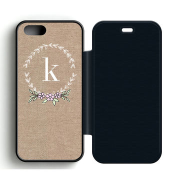 Free Monogram Printables Leather Wallet Flip Case iPhone 5 | 5S
