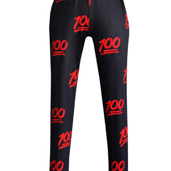 Black and Red 100 Emoji Joggers Pants