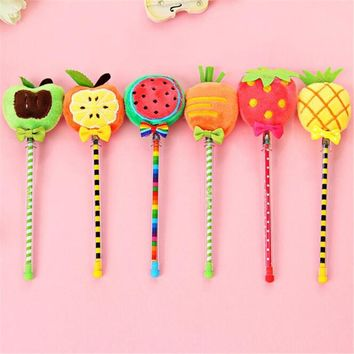Free Shipping Cute Kawaii Plush Gel Pen Creative pineapple Watermelon Writing Pen For Kids Korean Stationery 2009