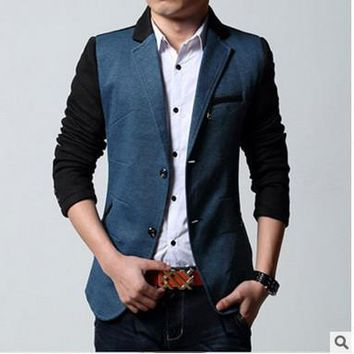 Men Winter Blazer Korean Slim Suits Jacket [6528960387]