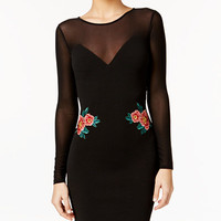 Material Girl Illusion Applique Bodycon Dress, Only at Macy's - Juniors Material Girl - Macy's