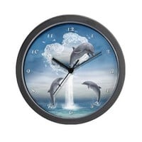 The Heart Of The Dolphins Wall Clock> The Heart Of The Dolphins> Gatterwe