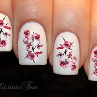 Cherry Blossom Nail Art Water Transfer Decal 14pcs