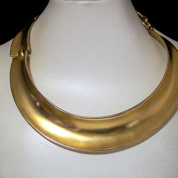 Clara Studio Asymmetry Collar Necklace, Hinged Closure 14kt Gold Plate Vintage Modernist Designer Jewelry Special Occasion, 1990s Style 1217