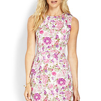 LOVE 21 Floral Petal Skirt Dress Ivory/Magenta Medium
