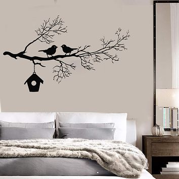 Vinyl Wall Decal Branch Tree Birds Room Decoration Art Stickers Mural Unique Gift (ig3545)