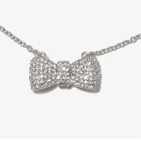 Sparkling Bow Charm Necklace