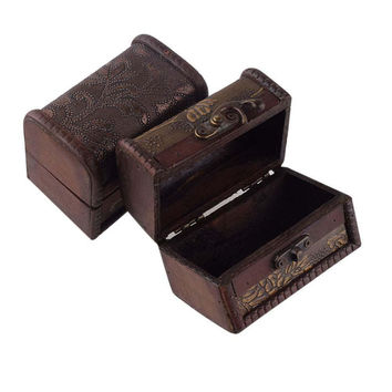 2016 Vintage Jewelry Box Organizer Storage Case Mini Wood Flower Pattern Container Handmade Metal Lock Wooden Small Boxes
