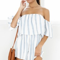 Sucker For Pain playsuit in blue stripe Produced By SHOWPO