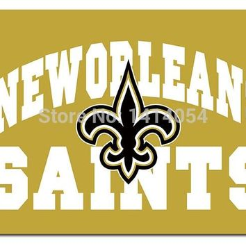 New Orleans Saints  Flag wordmark and logo  flag150X90CM Banner 100D Polyester flag brass grommets 001, free shipping