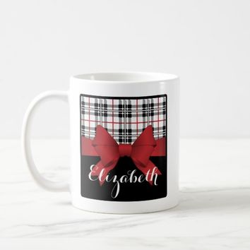 Red Black Tartan Plaid and Ribbon Cute Kids Name Coffee Mug