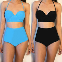 New Women Sexy Halter High Waist Summer Beach Bikini Set Swimwear Swimsuit  D_L = 1712526212