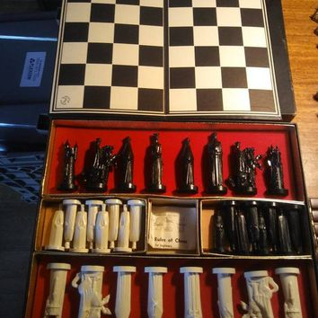ON SALE Vintage Chess Set By Pleasant Time Games Collector's Complete Game, Retro Man Cave Home Decor, Mid Century Modern Display With Box