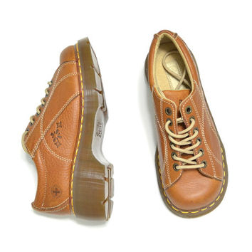 Dr. Martens Doc Martens Brown Leather Lace Up Oxfords Shoes Floral Stamped Pattern Grunge Creepers Size US 8 UK 6