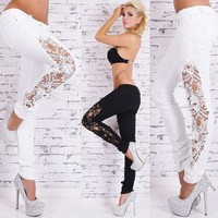 Womens Stylish Lace Skinny Party Jeans
